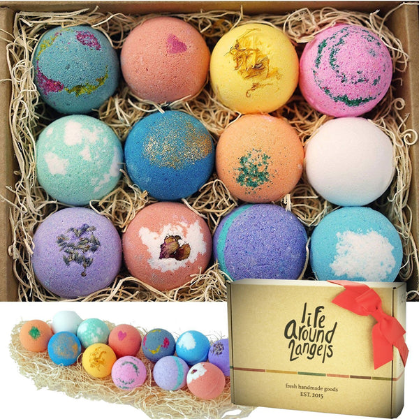 LifeAround2Angels Bath Bombs Gift Set 12 USA made Fizzies, Shea & Coco Butter Dry Skin Moisturize, Perfect for Bubble & Spa Bath. Handmade Birthday Mothers day Gifts idea For Her/Him, wife, girlfriend - gift-siri