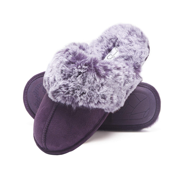 Jessica Simpson Comfy Faux Fur Womens House Slipper Scuff Memory Foam Slip On Anti-Skid Sole (Size Extra Large, Purple) - gift-siri