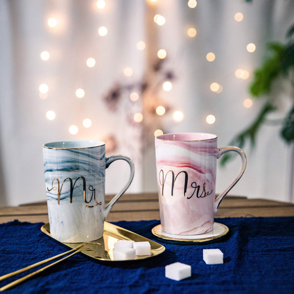 Jumway Mr and Mrs Coffee Mugs - Wedding Gift - Mr and Mrs Mugs Set - for Bride and Groom - Gift for Bridal Shower Engagement Wedding and Married Couples Anniversary - Ceramic Marble Cups 14 oz pink - gift-siri