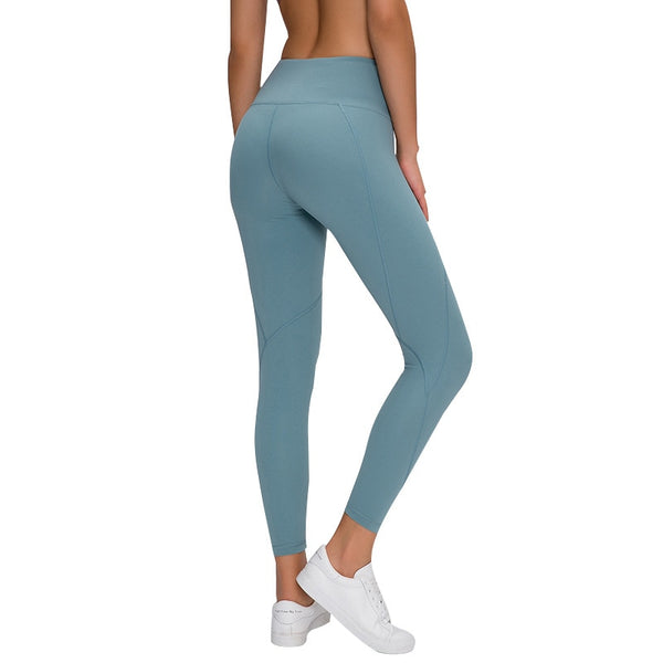 Outline Plain 7/8 Length Running Fitness Tights Yoga Pants - AOMEGA Marketplace