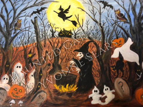 """Haunted Gathering"" original art print canvas"