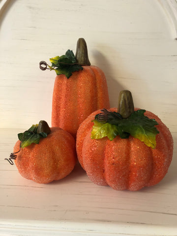 Beaded pumpkins, set of 3