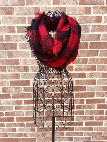 Buffalo Check Infinity Scarf — Red