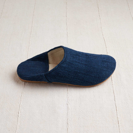 Handloomed Babouche Slippers in Indigo