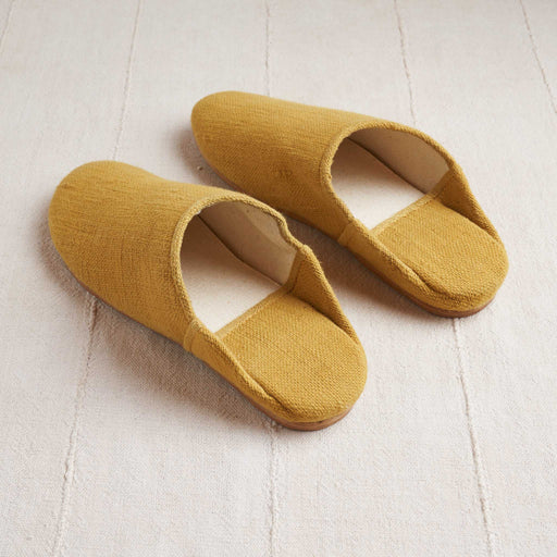 Handloomed Babouche Slippers in Ochre