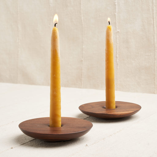 Pair of Hand-Turned Candlestick Holders in Natural Walnut Wood