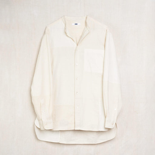 Long Sleeve Band Collar Shirt in Undyed Kala Cotton Patchwork
