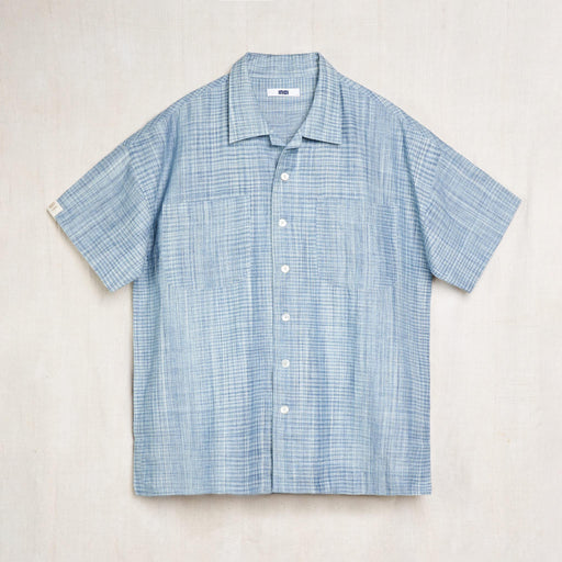 Mak Camp Collar Shirt in Indigo Space Dyed Organic Cotton