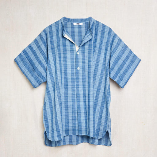 Short Sleeve Band Collar Shirt in Indigo Striped Kala Cotton