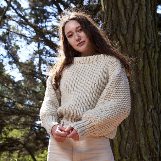 Cropped Merino Wool Sweater in Undyed Cream