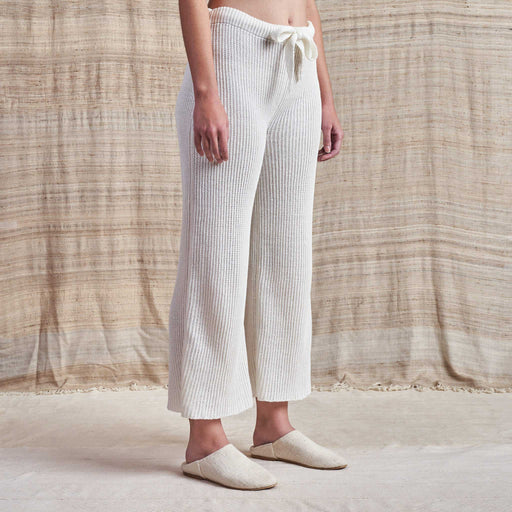 Lounge Pants in Undyed Ribbed Linen