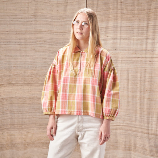 Amber Smock Top in Plant-Dyed Pink & Green Checked Organic Cotton