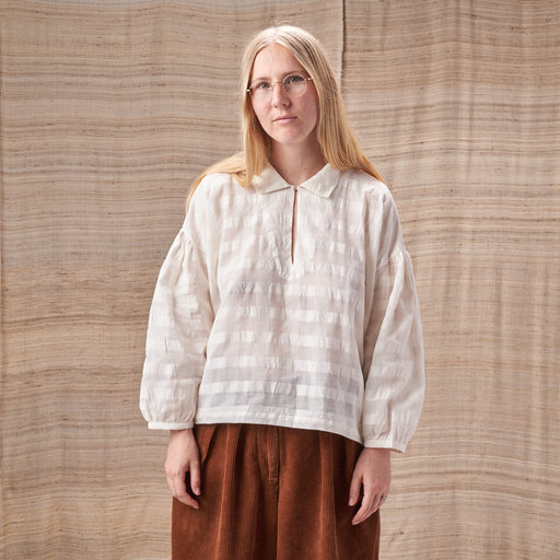 Amber Smock Top in Sheer Checked Organic Cotton