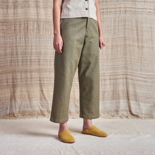 British Jeans in Khaki Green Selvedge Organic Denim