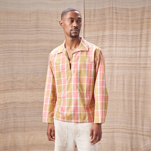 Smoke Top in Plant-Dyed Pink & Green Checked Organic Cotton