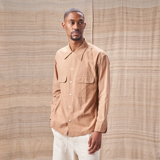 Snack Shirt in Bark Brown Organic Cotton