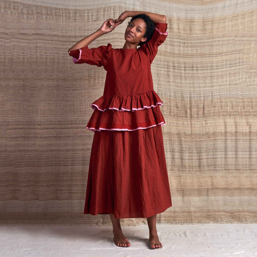 Tulsi Dress in Rose Madder Organic Cotton