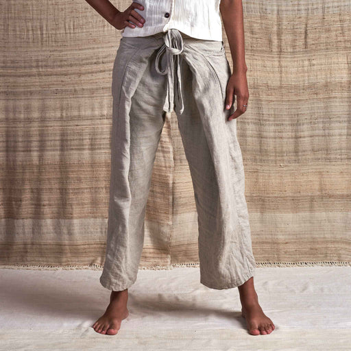 Wrap Pants in Undyed Natural Linen
