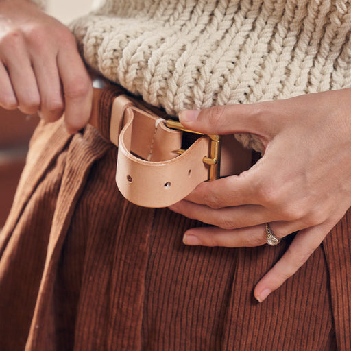 Natural Belt in Undyed Vegetable-Tanned Leather
