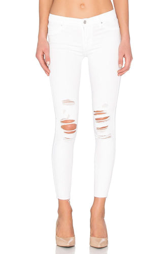 Black Orchid White Distressed Skinny Jeans