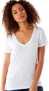 143 Classic Short Sleeve V Neck T in White