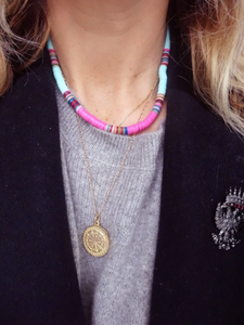 All The Must Heishi Medium Disc Necklace
