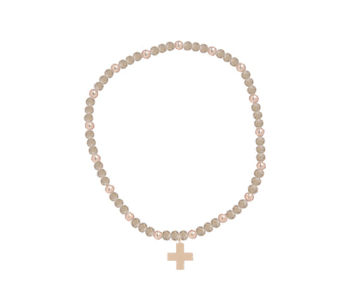 eNewton 3mm Sincerity bracelet with cross charm