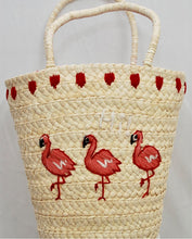 Load image into Gallery viewer, Hi! Pink Flamingo Straw Bag