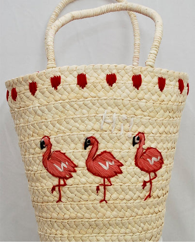 Hi! Pink Flamingo Straw Bag