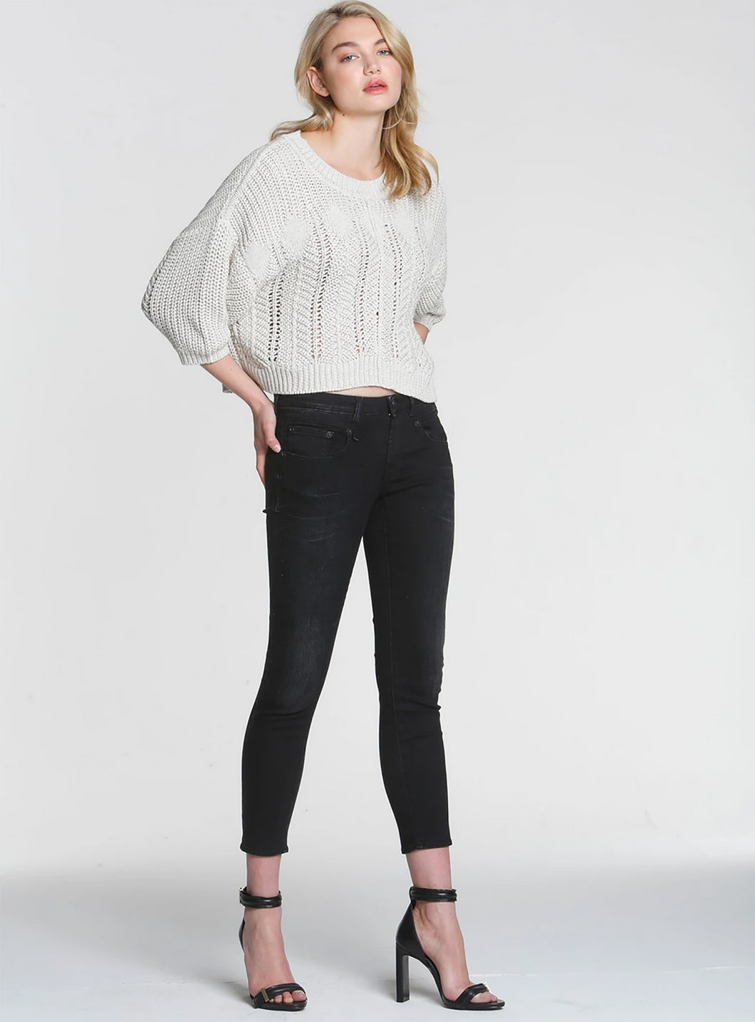 Label + Thread Diamond Cable Sweater