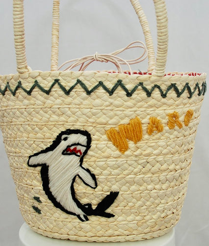 Shark Attack Straw Bag
