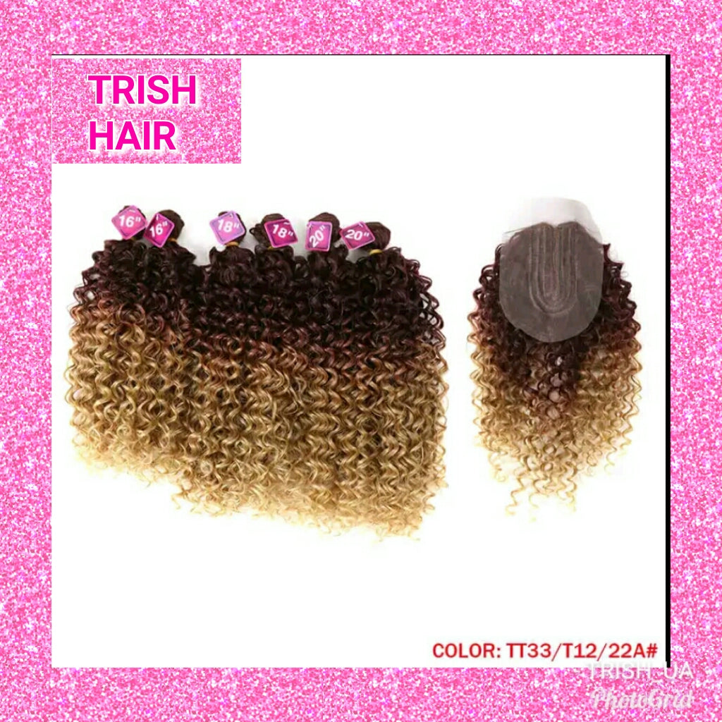 Trish Afro Kinky Curly Hair 16 20inch 7pieceslot Synthetic Hair