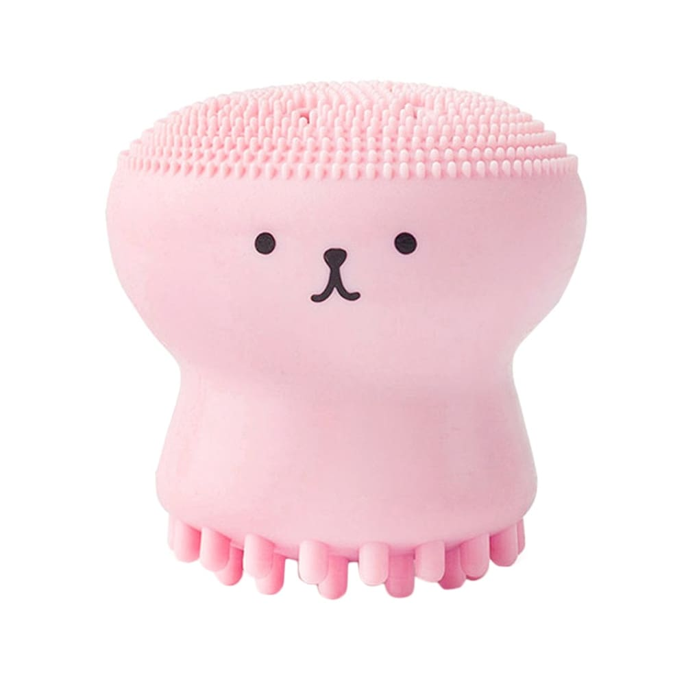 1pc Pink Jellyfish Shaped Silicone Octopus Face Cleaner Powder Puff Brush Face Cleaner Brush Tool Suitable For Daily Use