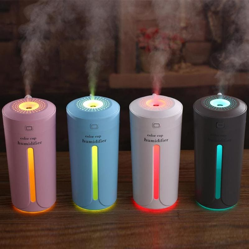 230ml Ultrasonic Air Humidifier Essential Oil Diffuser 4 Color Lights Electric Aromatherapy USB Humidifier Car Aroma Diffuser