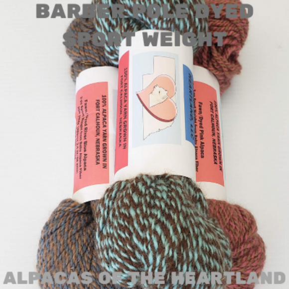 Alpacas of the Heartland - Barber Pole Dyed Sport Weight