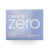 front view of the purple outer box of BANILA CO Clean it zero purifying cleansing balm