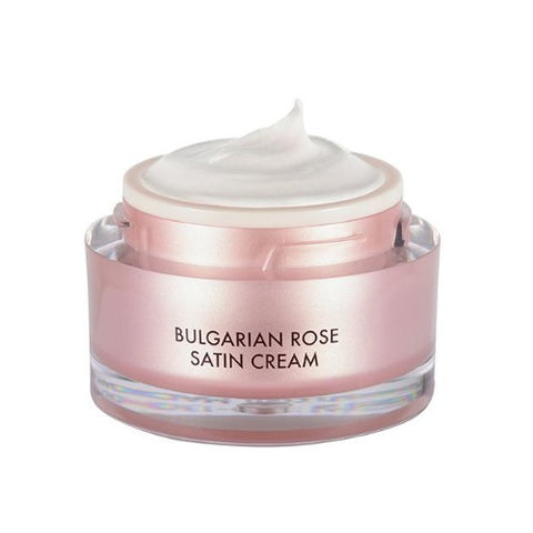 HEIMISH Bulgarian rose satin cream, open to show soft cream texture
