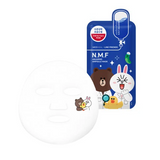 MEDIHEAL N.m.f aquaring ampoule mask inside view with cute character detail on the cheek of the mask