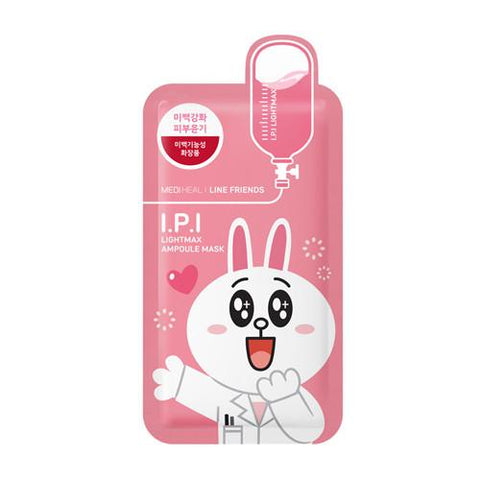MEDIHEAL Line Friends I.P.I Lightmax ampoule mask front view with white cony rabbit character