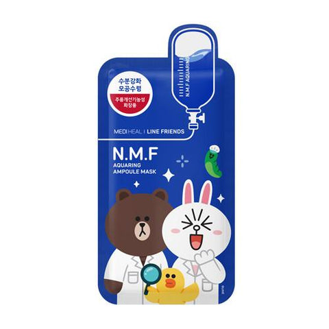 MEDIHEAL Line Friends n.m.f aquaring ampoule mask front view with 3 line friends character on the front