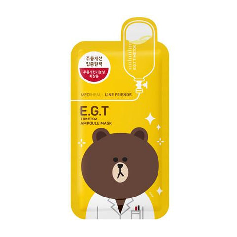 MEDIHEAL Line Friends e.g.t timetox ampoule mask front view with brown bear character