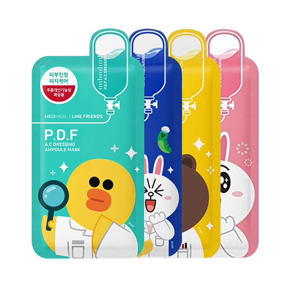 MEDIHEAL Line Friends Sheet Mask Bundle Set (Inc. 4 Masks)