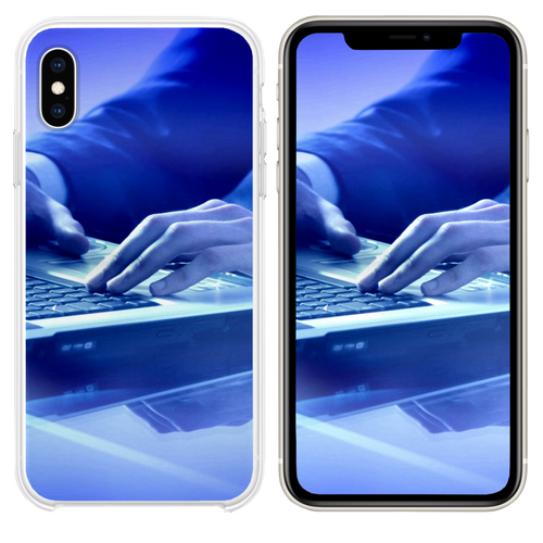Businessman Hands Keyboard Laptop iPhone XS case