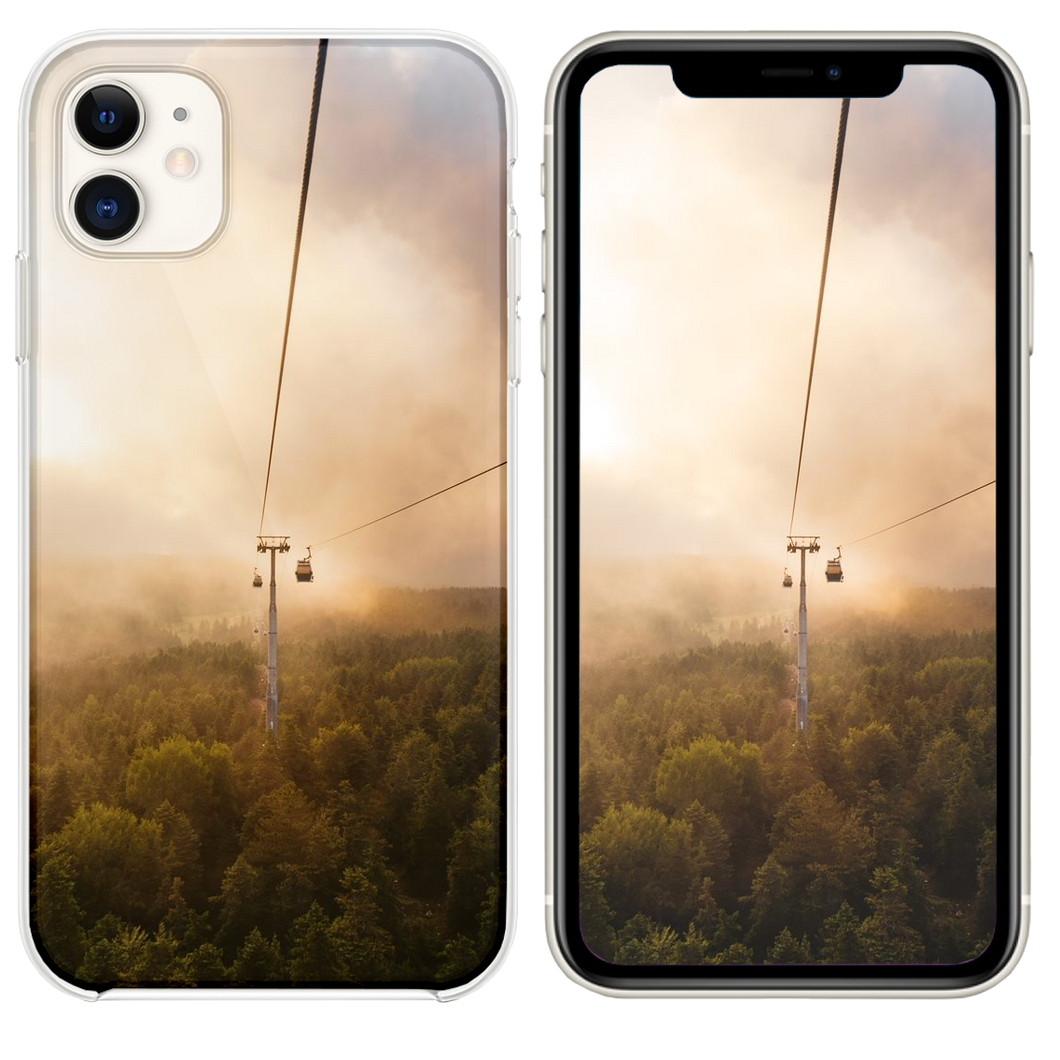 cable car under brown and white sky iPhone 11 case