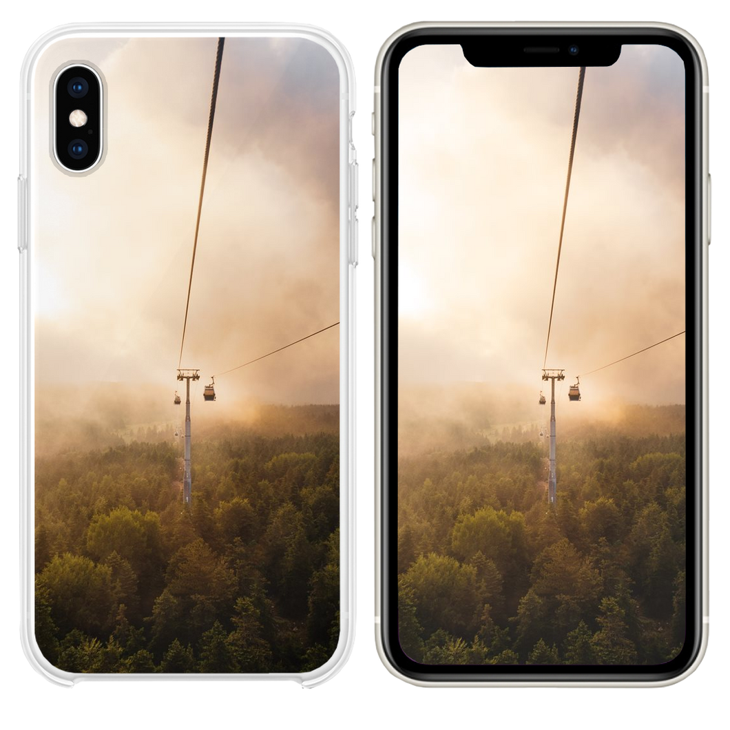 cable car under brown and white sky iPhone XS case