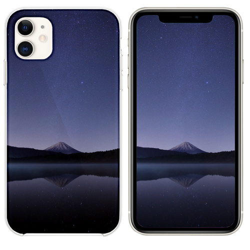 calm body of water near alp mountains during night iPhone 11 case