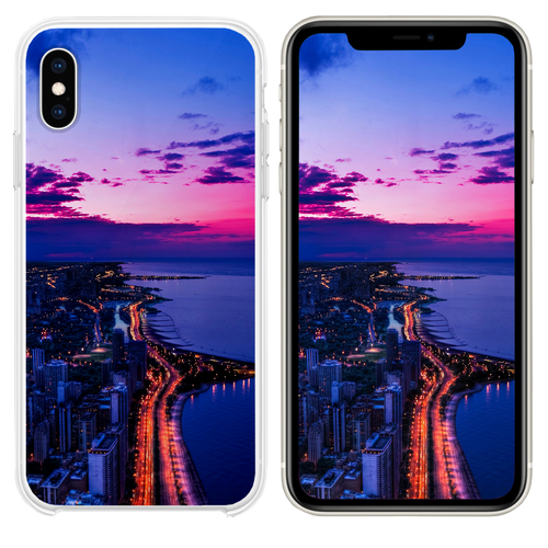 Chicago city night sky view scape ocean beach iPhone XS case