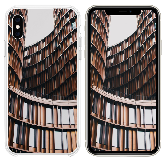 close up photography of brown concrete building iPhone XS case