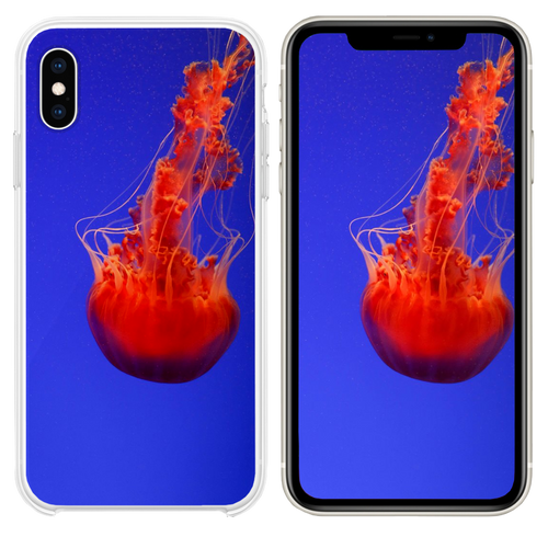 close up photography of red jellyfish iPhone XS case