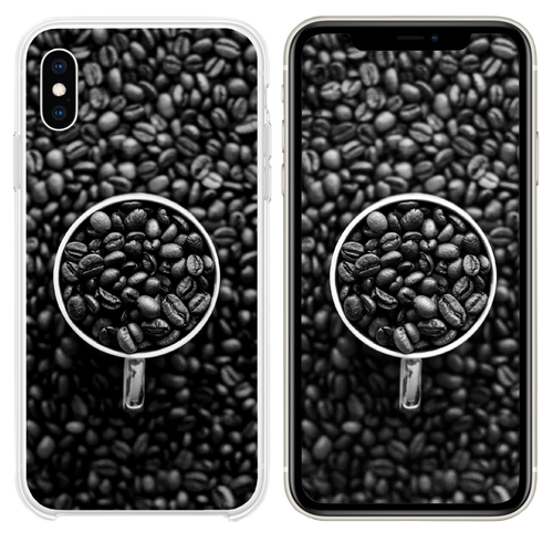 Coffee Bokeh Pattern Bw Dark iPhone XS case